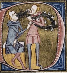 A medieval smile: care and hygiene of the teeth in the Salernitana Medical School. Miniature taken from the Omne Bonum codex, 1360-75 ca. - London, BL.