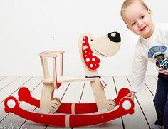 Wooden Rocking Horse DOG Wooden Riding Toy by CozyCornerLatvia