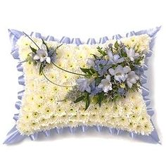 Blue & White Pillow - Funeral Flowers,£49.99