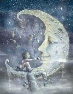 .Little boy offering the man in the moon a bite of his apple...