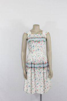 1950s Vintage Dress  Cotton Sundress with Floral Explosion  by VintageFrocksOfFancy