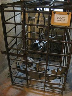 torture devices by azideaflickr, via Flickr. Prisoner Cage. Victorian Crime And Punishment, Creepy Images, Horrible Histories, Scary Places, Persecution, Thing 1, Middle Ages, Medieval, Witches