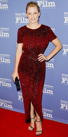 Elizabeth Banks sparkled at the 10th Annual Kirk Douglas Awards in a red silk chiffon J. Mendel gown.