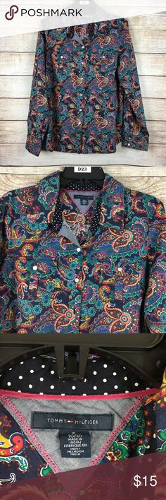 "Tommy Hilfiger Multicolor Paisley Button Down Beautiful Tommy shirt great for casual or career.                  Approx measurements laying flat:                                     Armpit to Armpit 21"" Shoulder to Hem 26"".                           100% Cotton Tommy Hilfiger Tops Button Down Shirts"