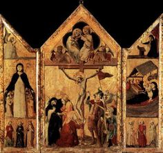UNKNOWN MASTER, Italian Triptych  1333 Wood, 135 x 73 cm (central), 127 x 36 cm (each wing) Musée du Louvre, Paris  The central panel represents The Coronation of the Virgin and The Crucifixion; the left wing The Angel of the Annunciation, The Madonna of Mercy, Sts Margaret, Catherine, and Lucy; the right wing The Virgin of the Annunciation, The Nativity, Three Martyr Saints.