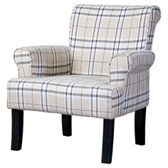 Brentley Arm Chair Bring a touch of classic style to your living room or parlor with this plaid arm chair, featuring a rolled design and tapered legs.