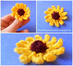 My hobby is crochet: Small cone flower (Rudbeckia) FREE Pattern
