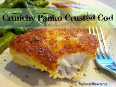 Tired of boring fish for dinner? My recipe for Crunchy Panko Crusted Cod using P. Tired of boring fish for dinner? My recipe for Crunchy Panko Crusted Cod using Panko bread crumbs will take your fish to a whole new delicious crunchy. Cod Fish Recipes, Seafood Recipes, Cooking Recipes, Tilapia Recipes, Recipe For Cod Fish, Best Cod Recipes, Baked Cod Recipes, Cooking Rice, Grilling Recipes