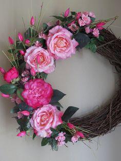 Easter Wreath Pink Wreath Spring Wreath Summer by WaukeeCreations