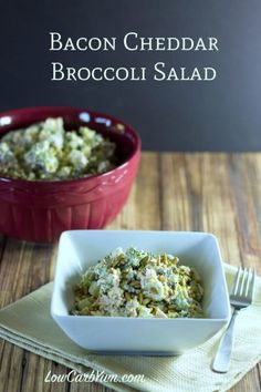 Low carb broccoli salad with bacon and cheese cover
