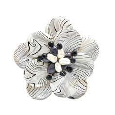 Zebra Mother of Pearl Painted and Cultured Freshwater Pearl Floral Pin or Brooch - CV11QV2BF11 - Brooches & Pins  #jewellrix #Brooches #Pins #jewelry #fashionstyle