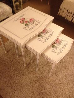 Pretty nest of tables using decoupage and stencilling