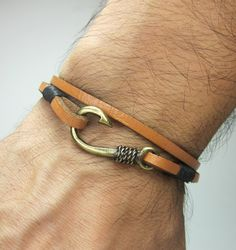 Fish Hook Bracelet in Light Brown LeatherBlack by ZEcollection, $18.00
