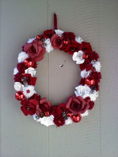 Paper flowers christmas wreath by nichole sypher