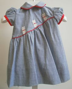 Blue vintage dress with dogs