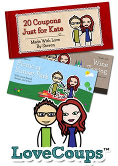 Create your own personalized love coupons starring you and the one you love.