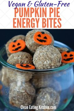 These vegan, gluten-free, and paleo-friendly Pumpkin Pie Bites are great for a seasonal, healthy treat. These healthy cookies are full of nourishing ingredients. Great for kids and adults! Gluten Free Pumpkin Pie, Gluten Free Desserts, Vegan Gluten Free, Gluten Free Recipes, Dairy Free, Vegan Pumpkin, Paleo Dessert, Vegan Recipes, Dessert Recipes