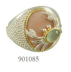 Pink Mussle and Peruvian Calcite ring - Poseidon's Treasures Collection
