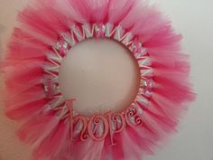 "20"" Breast Cancer Awareness Tulle & Ribbon Hope Tutu Wreath. $35.00, via Etsy."