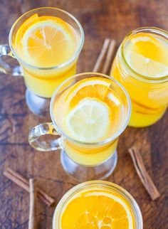 Chai-Spiced Triple Citrus Tea. Made with white tea, pineapple juice, oranges, lemons & chai spices. Serve warm or cold (vegan, GF) averiecooks.com