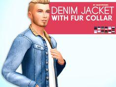 Denim Jacket with Fur Collar Sims 4 CC Maxis Match