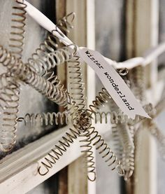 Make a snowflake ornament using old bed springs. Step-by-step instructions on how to make a snowflake ornament from vintage bed springs. Bed Spring Crafts, Spring Projects, Spring Art, Christmas Projects, Holiday Crafts, Christmas Ideas, Spring Snow, Holiday Decor, Old Bed Springs