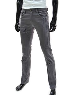 (TLP22-GRAY) Slim Straight Low Rise Zipper Point Stretchy Cotton Pants
