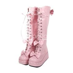 Fabulous Pink 2 3/5 Heel PU Heart Bow Platform Bandage Lolita Boots ❤ liked on Polyvore featuring shoes, boots, lolita, pink, platform boots, pink platform boots, pu boots, pink shoes and pu shoes