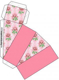 Caixa Fatia Floral Rosa Provençal: