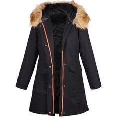 Black Drawstring Back Zip Detail Detachable Faux Fur Hooded Parka Coat (11.280 RUB) ❤ liked on Polyvore featuring outerwear, coats, jackets, drawstring coat, faux fur hood coat, drawstring parka, parka coat and black parka