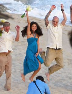 : Selena Gomez posed for a photographer at her friend's Mexico beach nuptials in December 2011.