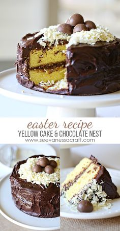 Easter Brunch Dessert Recipe - Yellow Cake and Chocolate Frosting
