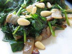 Sauteed Spinach with Lemon, Garlic and Onions, and Pine Nuts