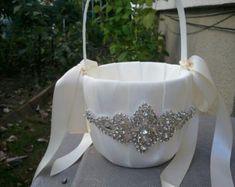 Wedding Flower Basket Flower Girl Basket by LucyBridalBoutique