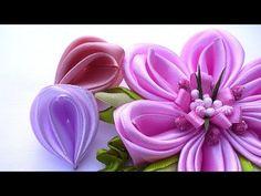 Новый Лепесток Канзаши / Лепестки Канзаши из Ленты 2 5 см / Kanzashi Petals Flowers Tutorial - YouTube