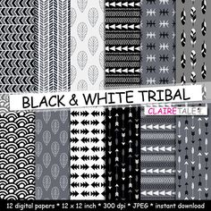 "Buy Tribal digital paper: ""BLACK & WHITE TRIBAL"" with tribal patterns and tribal background, arrows, feather, leaves, chevron in black and white by clairetale. Explore more products on http://clairetale.etsy.com"