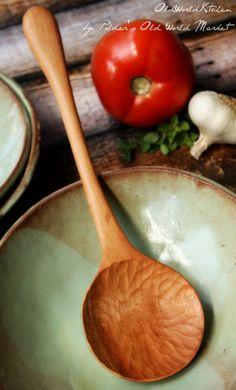 Italian Villa Serving Spoon Wooden Spoon by OldWorldKitchen