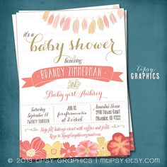 Pink & Gold Vintage Flowers Baby Bridal Shower Party Invitation