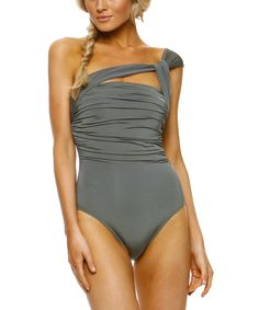 Metallic Army Asymmetrical One-Piece | Daily deals for moms, babies and kids