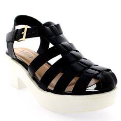 Womens Pumps Cut Out Mid Heel Gladiator Platform Block Heel Shoes Sandal - Black Patent - 7 - 38 - CD0213B. Chunky Block Heel Gladiator Sandal. Low Block Heel. Synthetic Platform Sole Unit. Adjustable Buckle Closure. Gladiator Style Sandal.