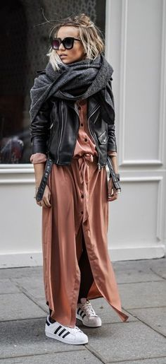 fall street style. button down maxi dress. leather jacket. adidas.