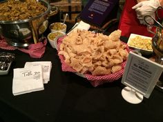 Pork rinds at an event catered by table 301 catering at the upcountry history Museum Chef Work, Pork Rinds, History Museum, Catering, Stuffed Mushrooms, Menu, Ice Cream, Table, Desserts