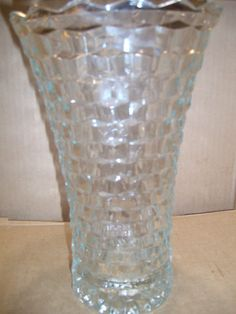 """Mint Vintage Indiana Glass Whitehall 10"""" Flared American Cubist Style Vase"""
