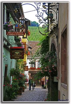 Side Street, Alsace France  I'd love to stroll down this street!  When I go to England and fly over to Paris, I just might get to do this!