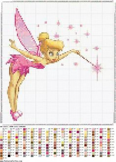 Tinkerbell--This is a cute little cross stitch of Tinkerbell. Would like to stitch this at some point. Disney Cross Stitch Patterns, Counted Cross Stitch Patterns, Cross Stitch Charts, Cross Stitch Designs, Cross Stitch Embroidery, Modern Cross Stitch, Embroidery Patterns, Loom Patterns, Fantasy Cross Stitch