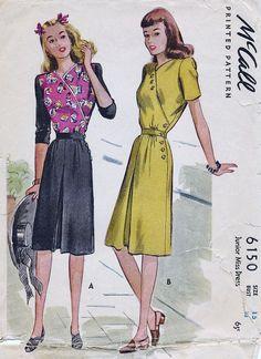McCall 6150; ©1945; Junior Miss Dress. | Vintage Patterns Wikia