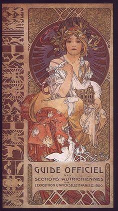 """Art: Alfons Mucha ~""""Guide Officiel des Sections Autrichiennes"""" 1900~"""
