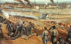 The Battle of Fredericksburg, December 13, 1862. Confederate gunners on Willis Hill pound away at attacking Union columns - Sidney E. King