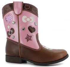 Take a fashion trip to the old west with Hello Kitty®:synthetic leather upper, graphics, glitter and ornaments decorate upper, Hello Kitty® face detailing, durable and flexible outsole for long-lasting wear, added traction