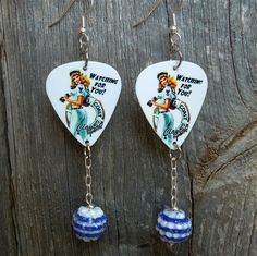 Coast Guard Pin Up Girl Guitar Pick Earrings with Striped Rhinestone Bead Dangle #Handmade #DropDangle Military Jewelry, Girls Jewelry, Coast Guard, Pin Up Girls, Clip On Earrings, My Ebay, Dangles, Bead, Sterling Silver